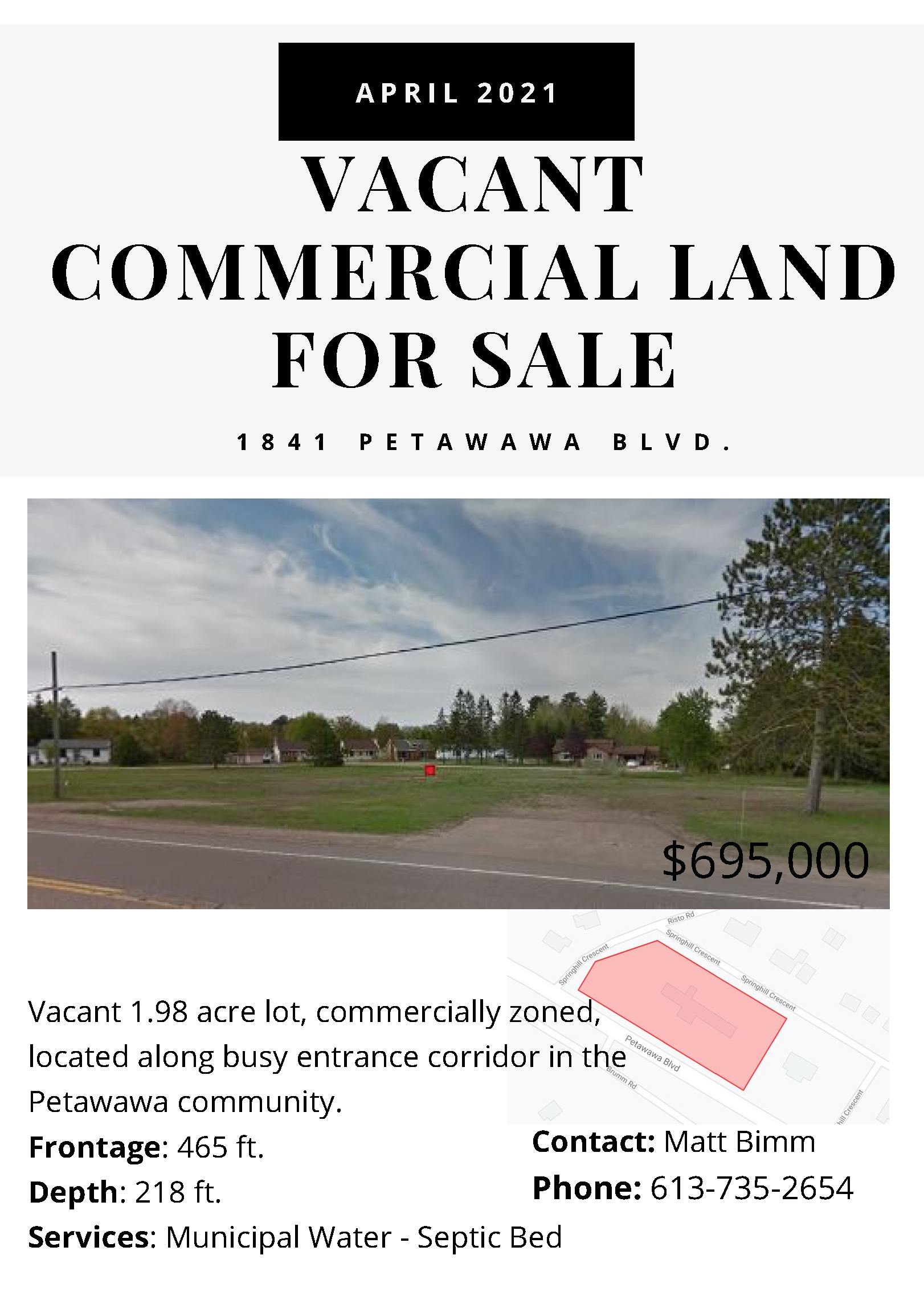 a retail sales listing for vacant commercial land in Town of Petawawa