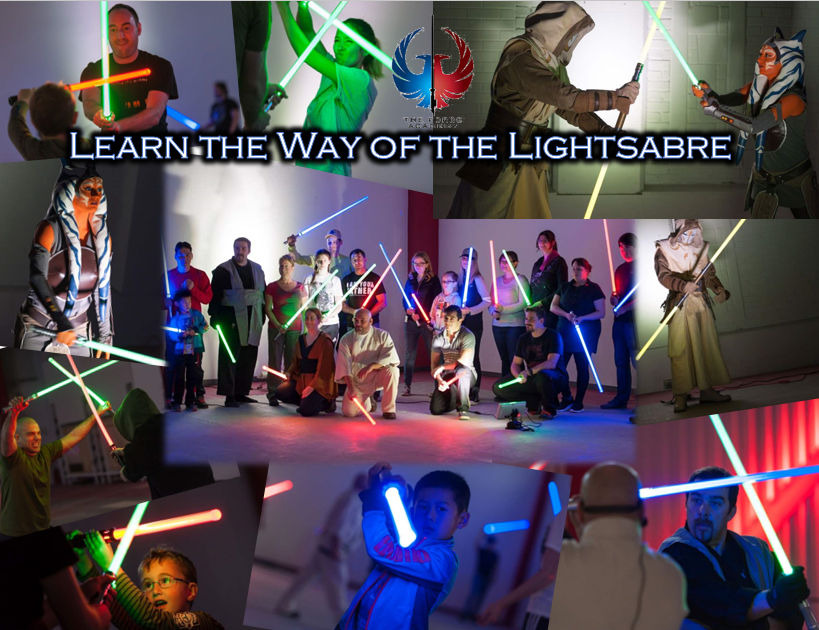 Images of youth and adults in action poses with lightsabres