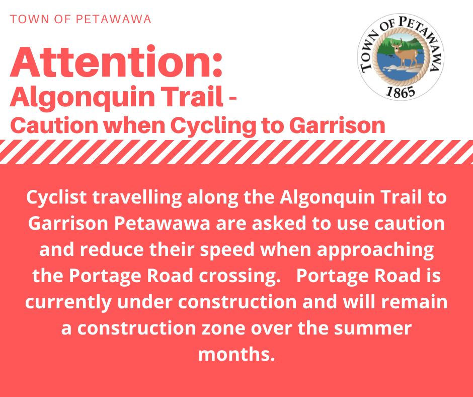 construction notice for cyclist on algonquin trail, portage intersection under construction