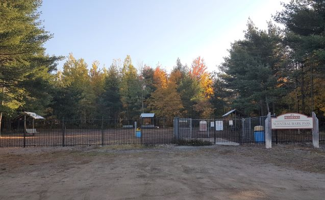 Photo of dog park showing fence, open area behind fence, shelters and benches, and trees
