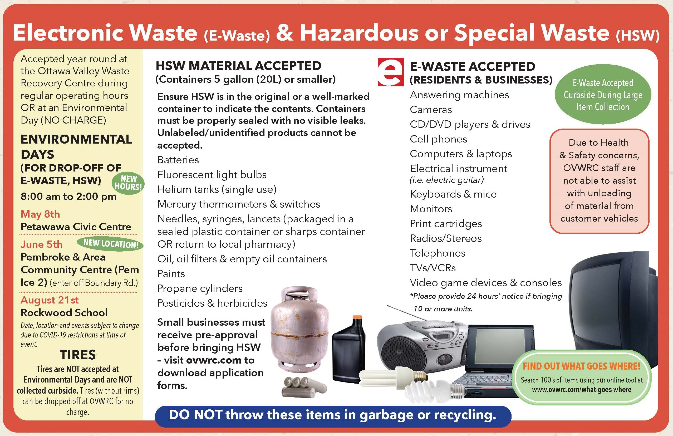 electronic waste notice, may 8, petawawa civic centre