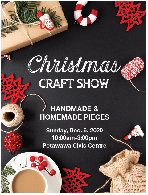 Christmas and holiday decor around craft show details in writing