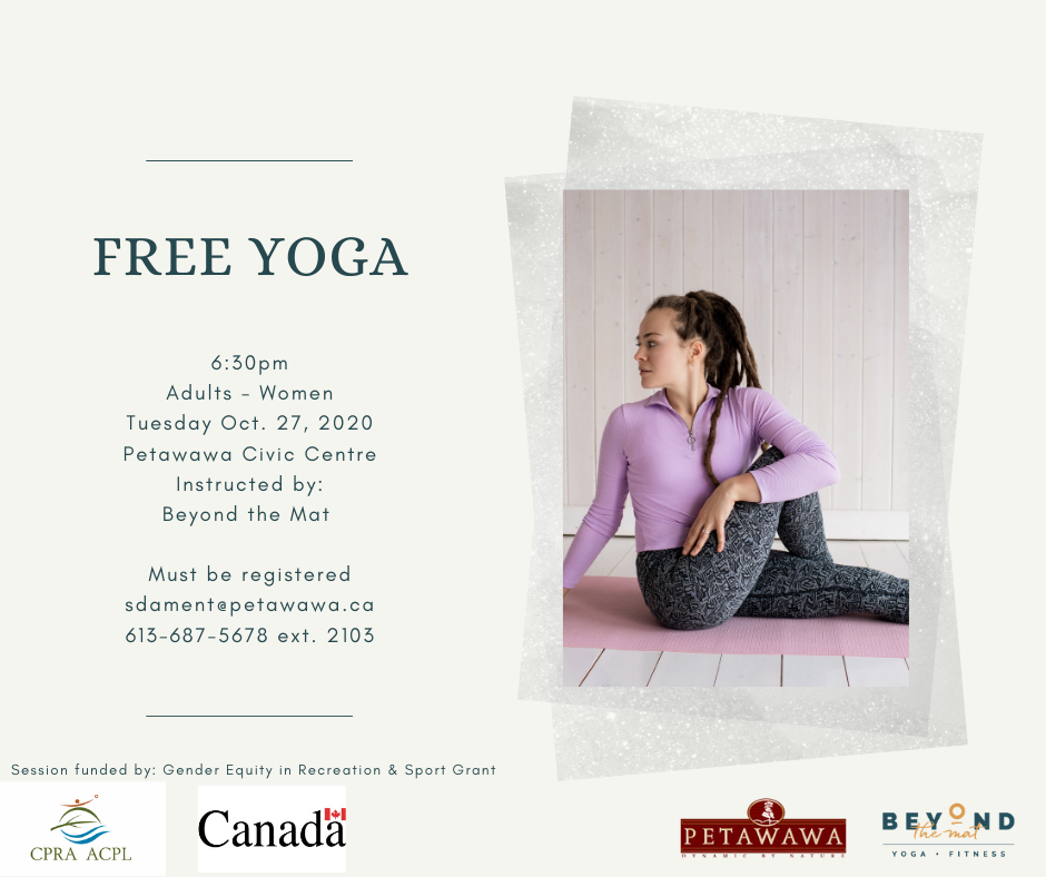 Image of woman in yoga pose with program information typed on poster
