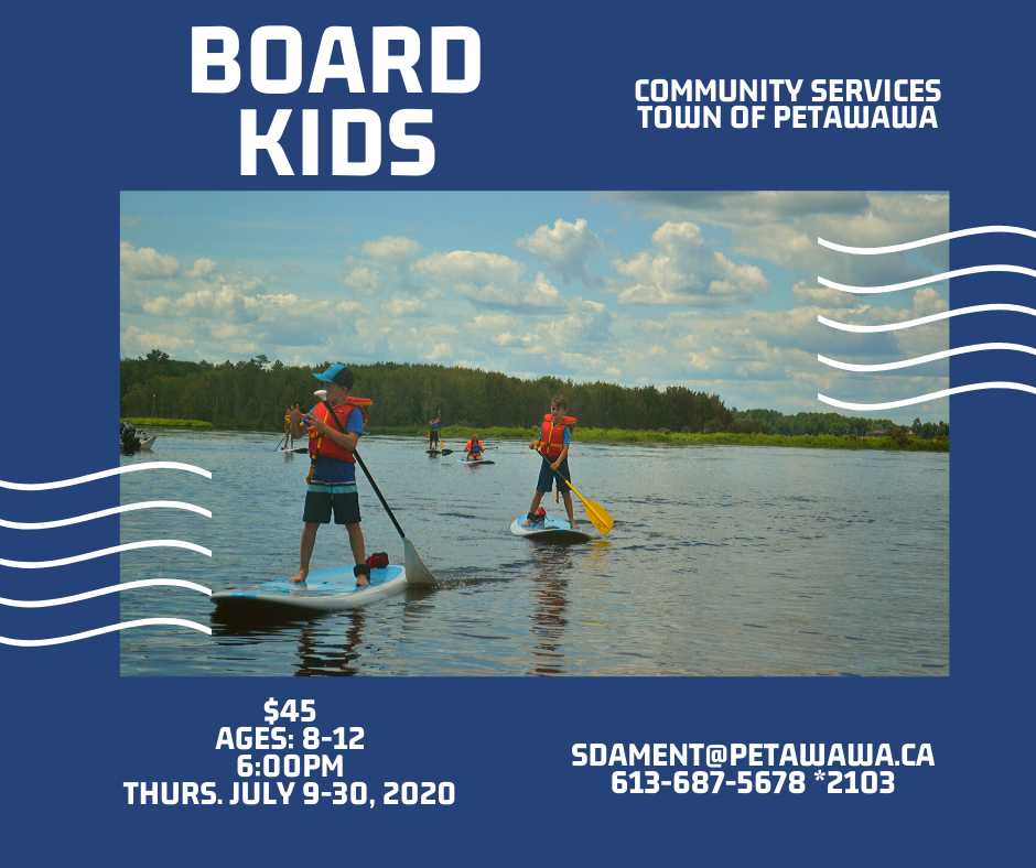 Image of a few kids on SUP boards on the Ottawa River with greenery in background