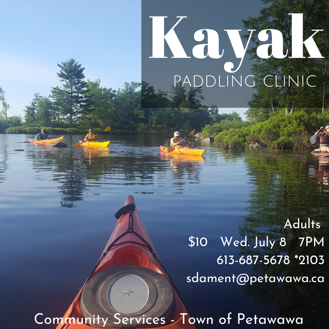 Image of the tip of a kayak with view of water, islands and other kayakers in the background on the Ottawa River
