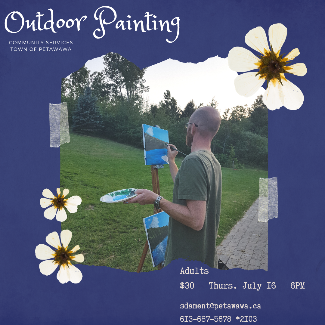 Image of an adult applying paint to a canvas in a park