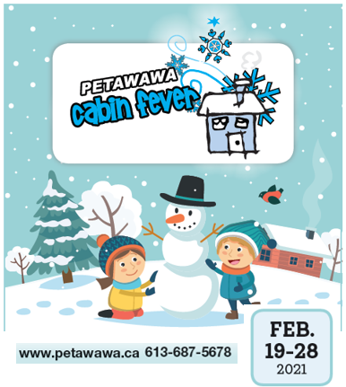 Winter animated image of figures playing in the snow with Cabin Fever title and dates