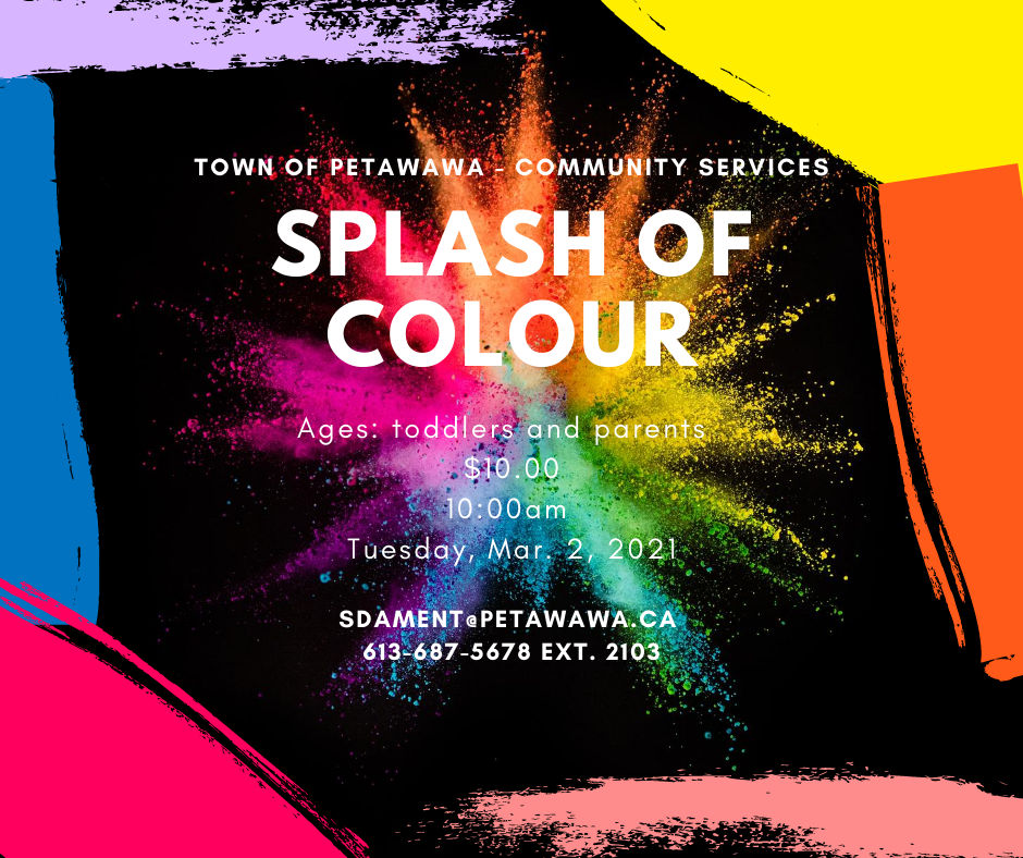 Black poster with splashes of colours as the trim around program details in writing