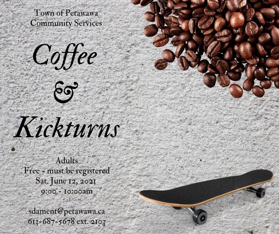 Poster with photos of coffee and a skateboard