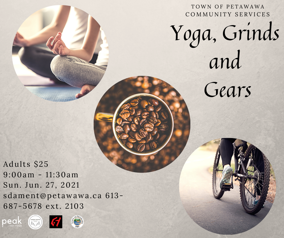 Poster with yoga, coffee beans, and bike