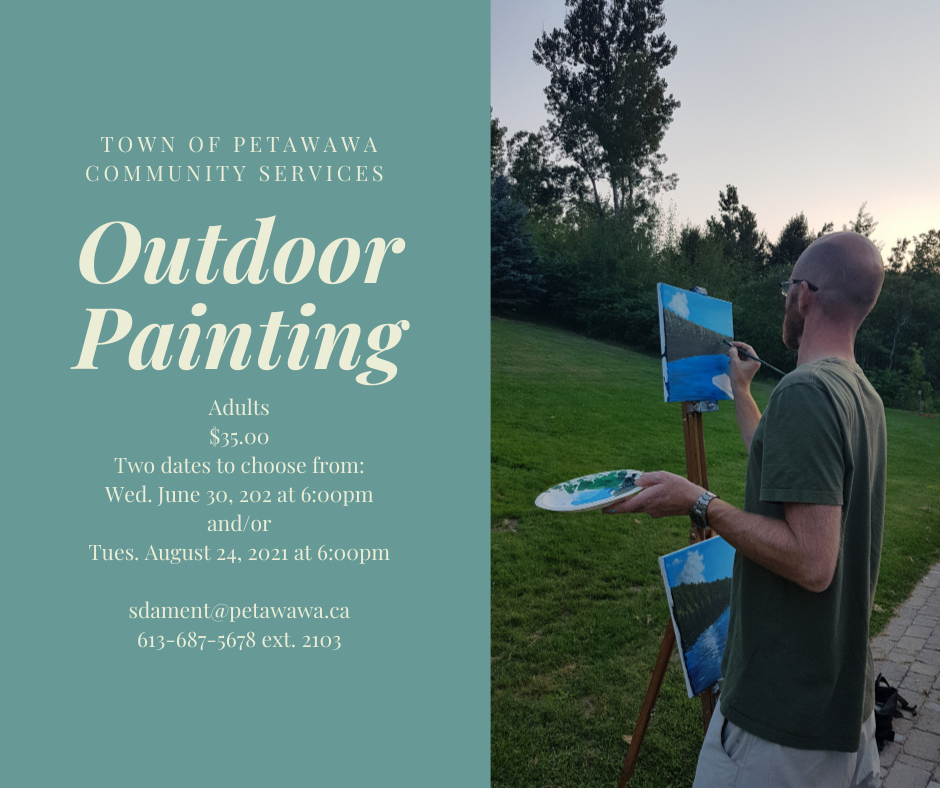 Man painting a canvas on an easel outdoors