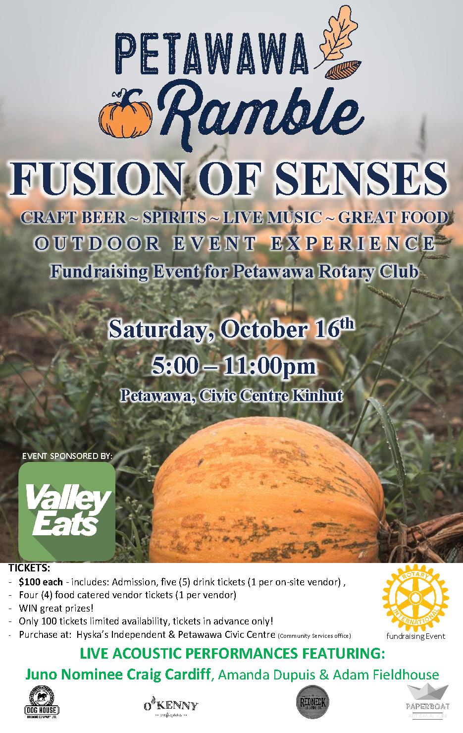 Fusion of Senses poster Valley Eats and Rotary Club of Petawawa