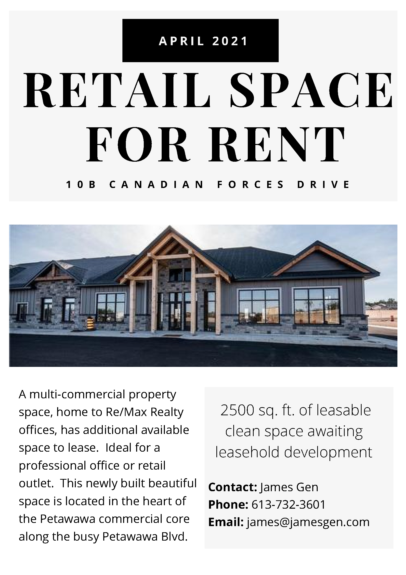 a sales listing for commercial property on Petawawa Blvd.