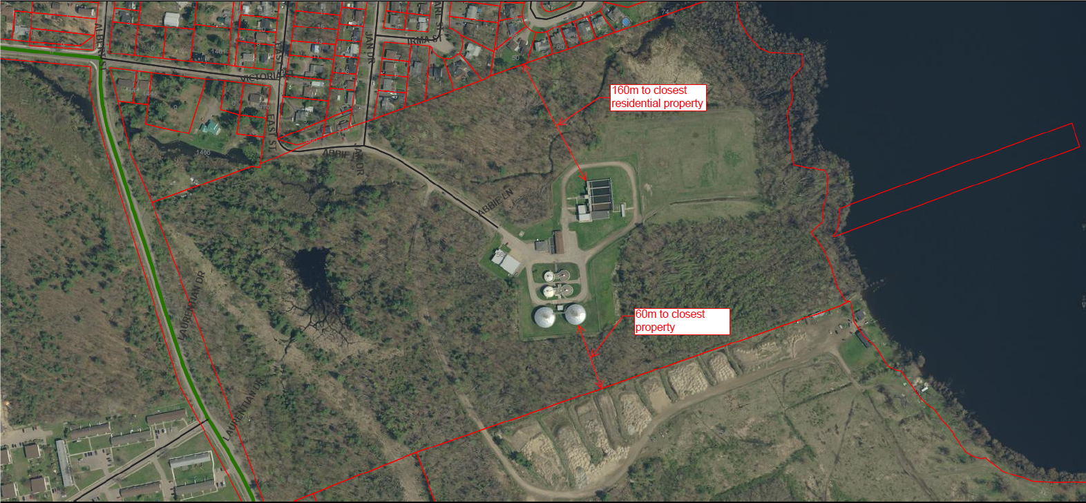 key map, map of petawawa waste water plant