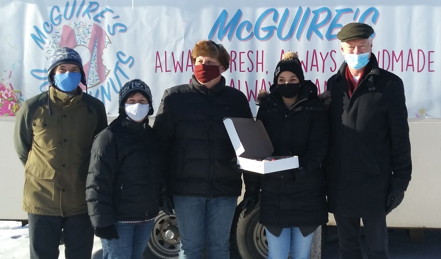 Town of Petawawa Councillors with Kristina owner of McGuire's donuts