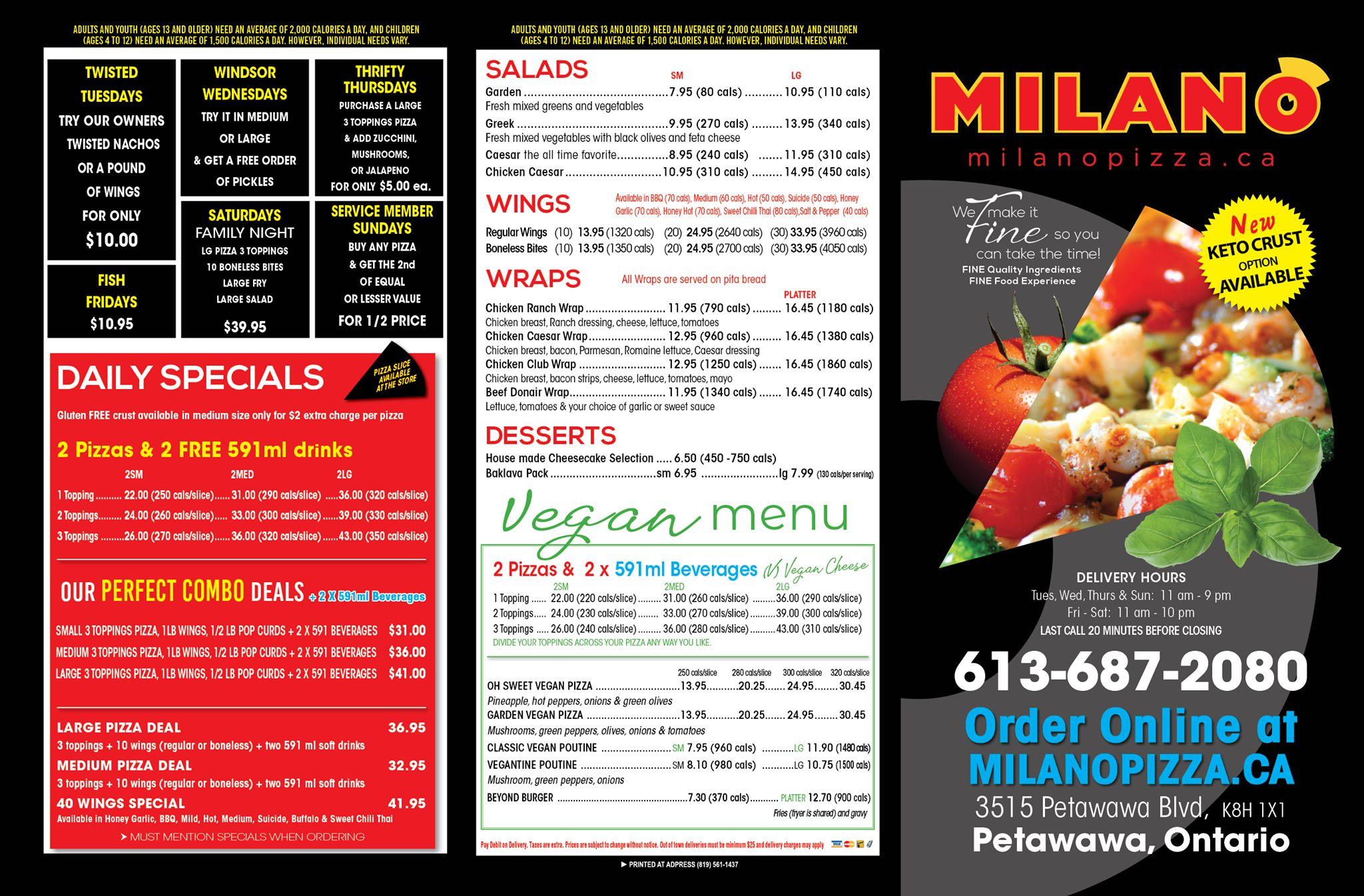 A menu detailing items in Milano's Pizzeria Petawawa