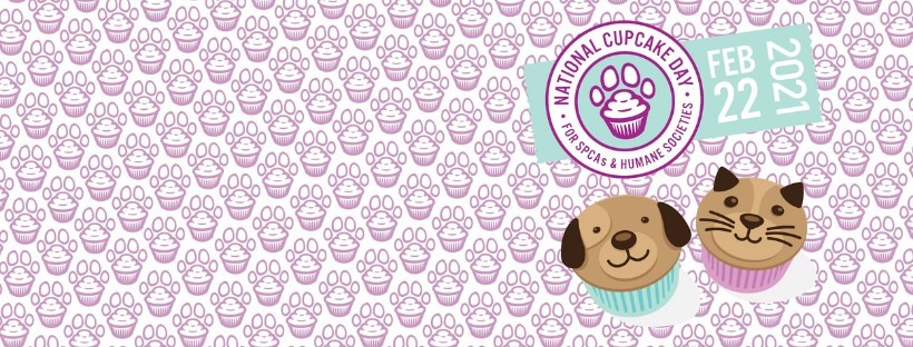 a image of pets with the National Cupcake Day logo