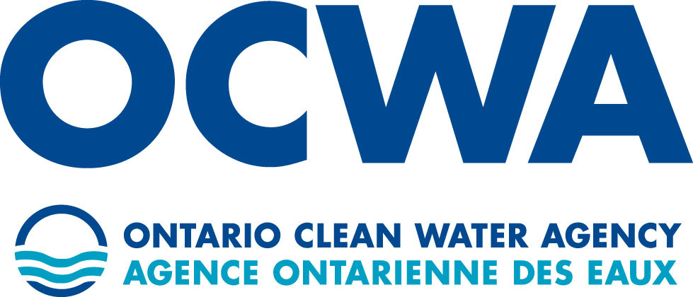 a two toned blue image with of the Ontario Clean Water Agency logo