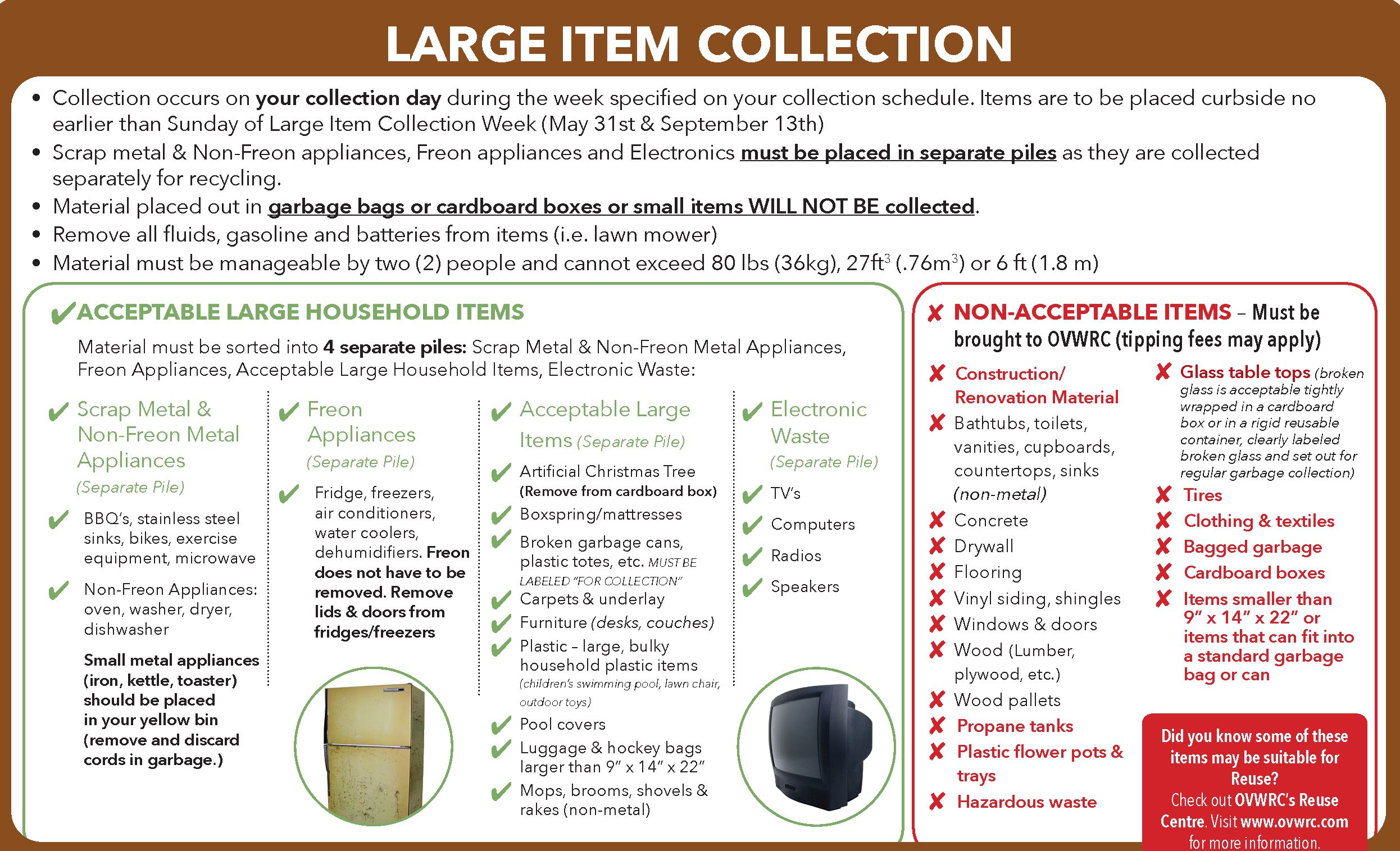 large item collection, acceptable large household items