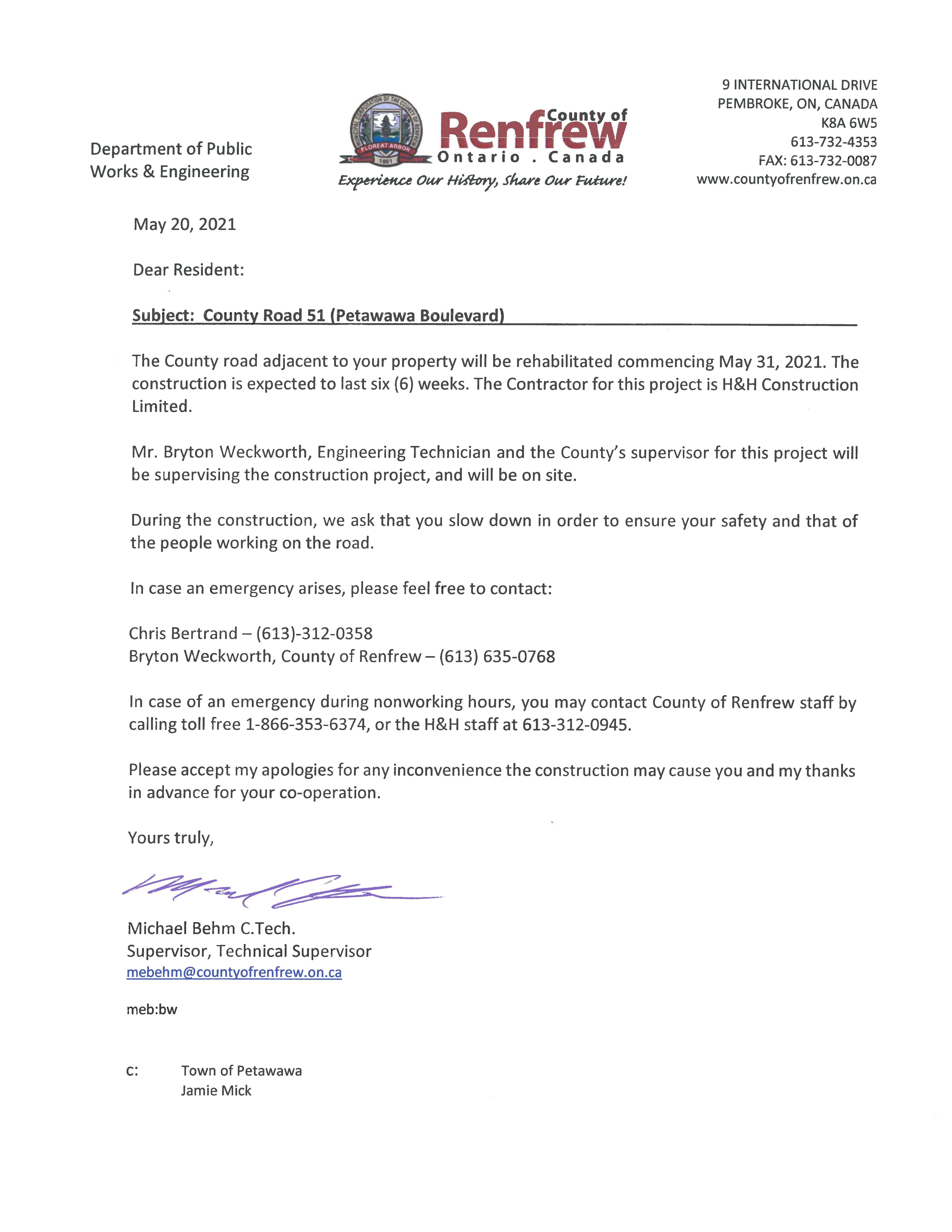 letter from the County of Renfrew detailing County Rd. 51 rehabilitation works.