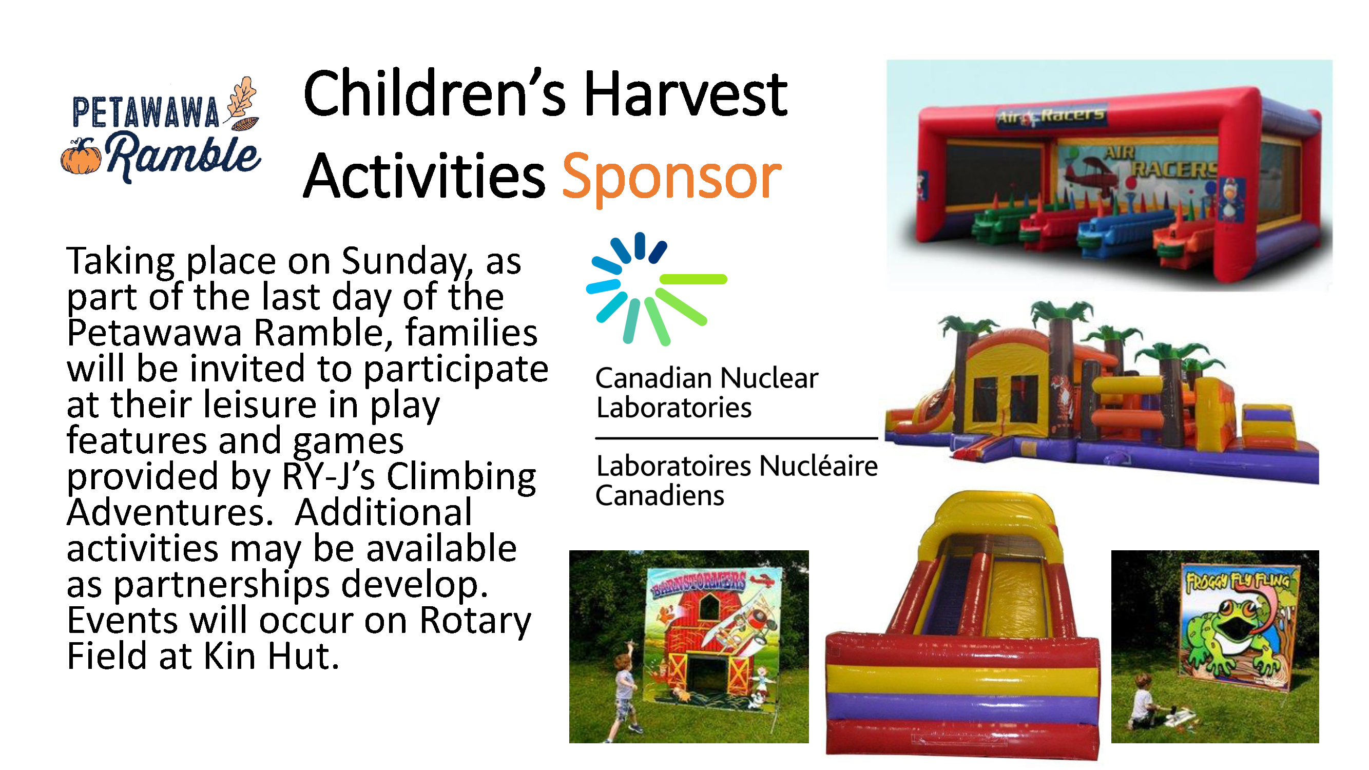 A graphic on the bouncy elements as part of the CNL Children's Harvest Activities for the Petawawa Ramble.
