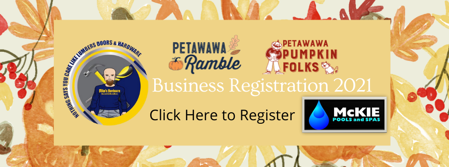 A registration button for the Business Petawawa Ramble pages