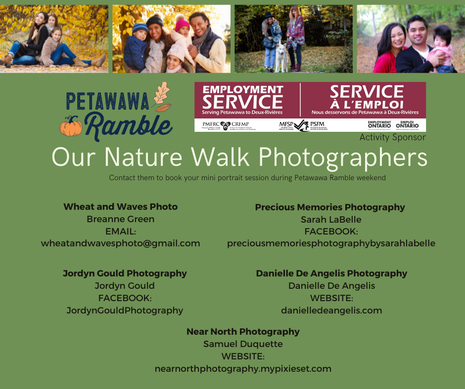 family photo session images with contact details of five local photographers