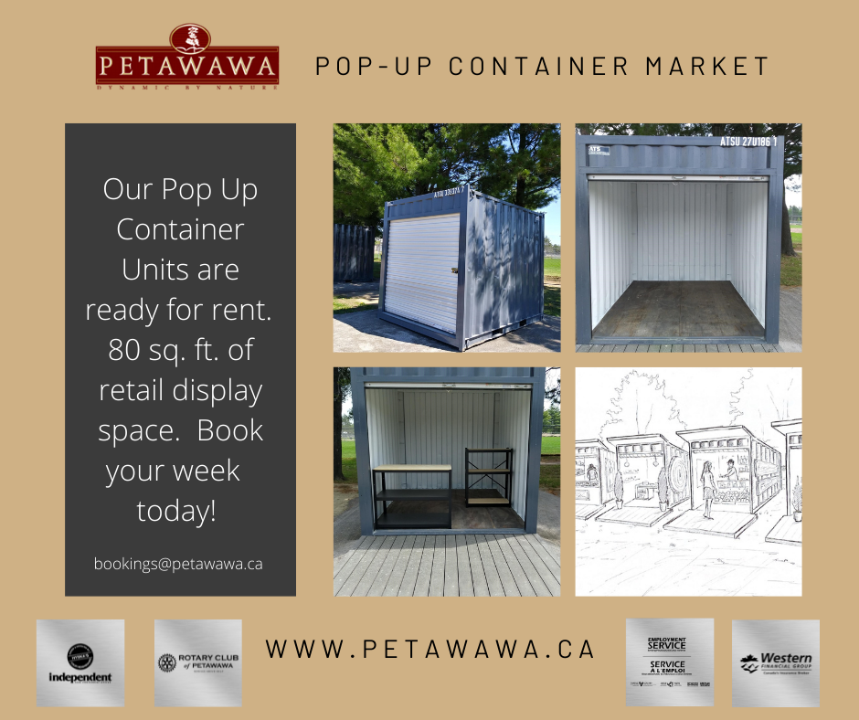visuals of the container open with deck and with furniture