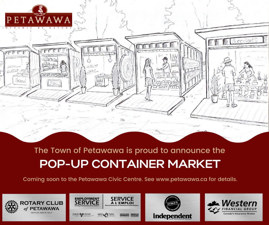 a graphic image of the Petawawa Pop Up Market concept