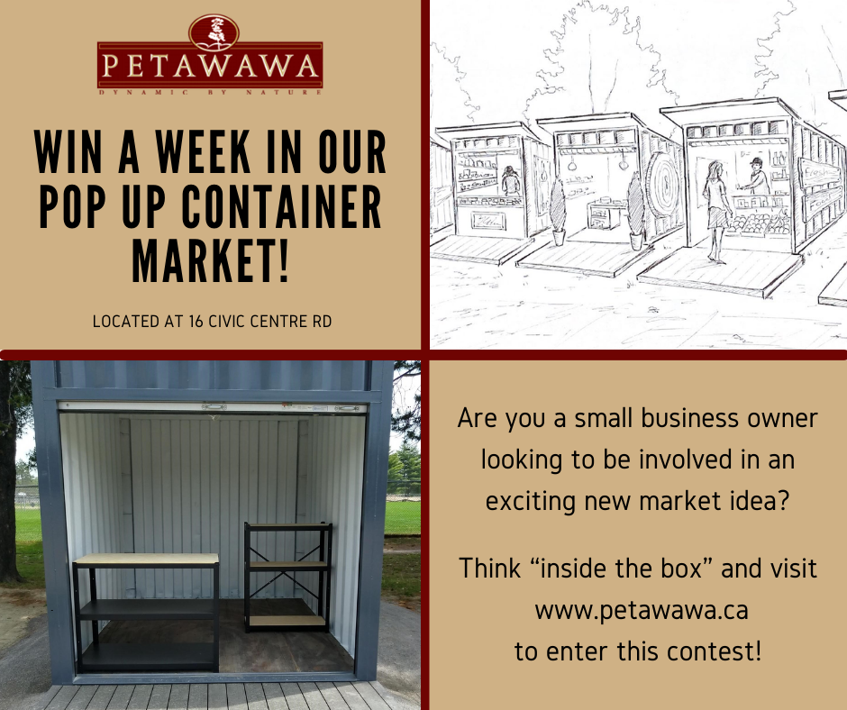 a visual of our Pop Up Container unit and a chance to win contest