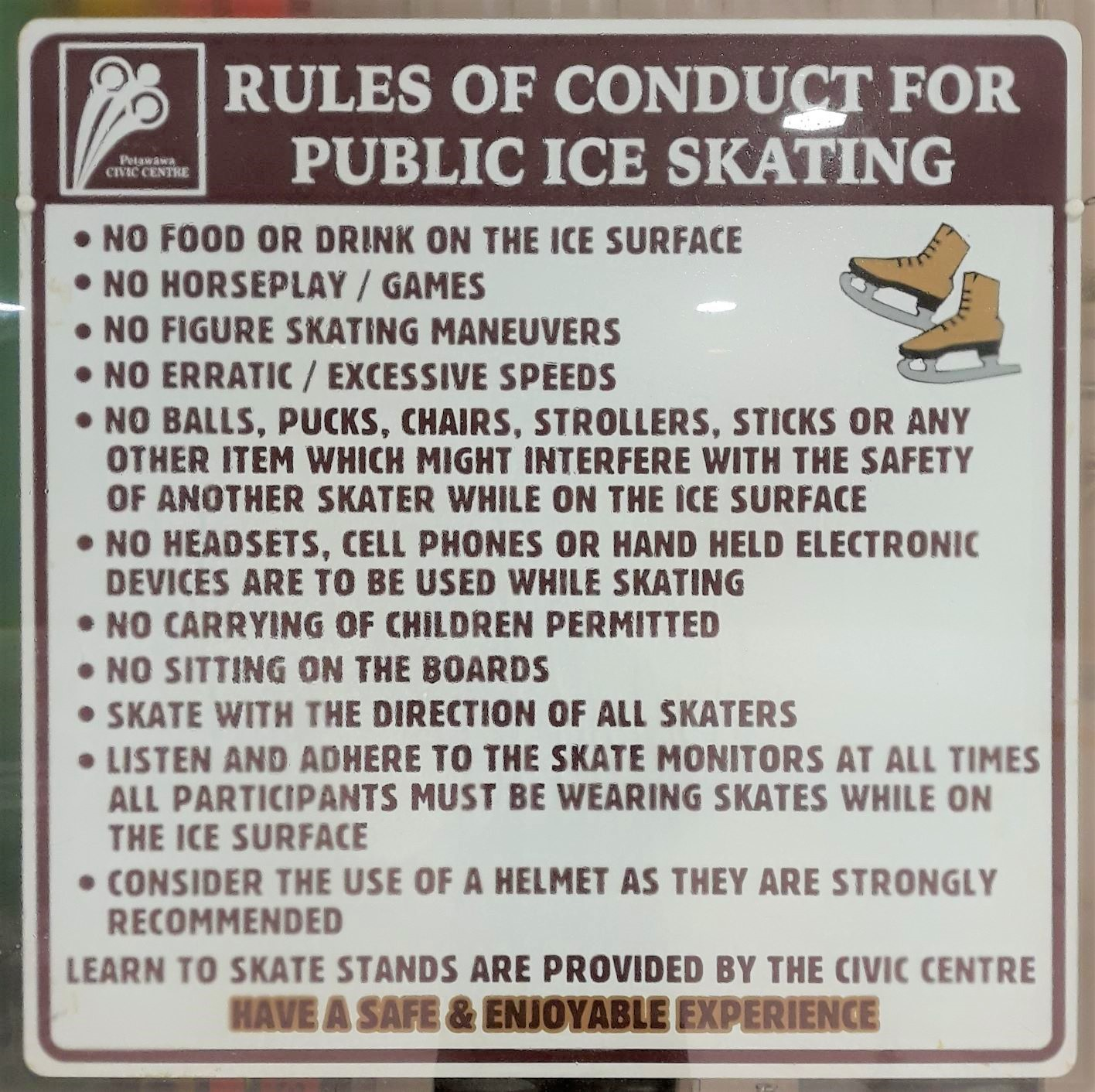 Photo of wall poster with public skating rules