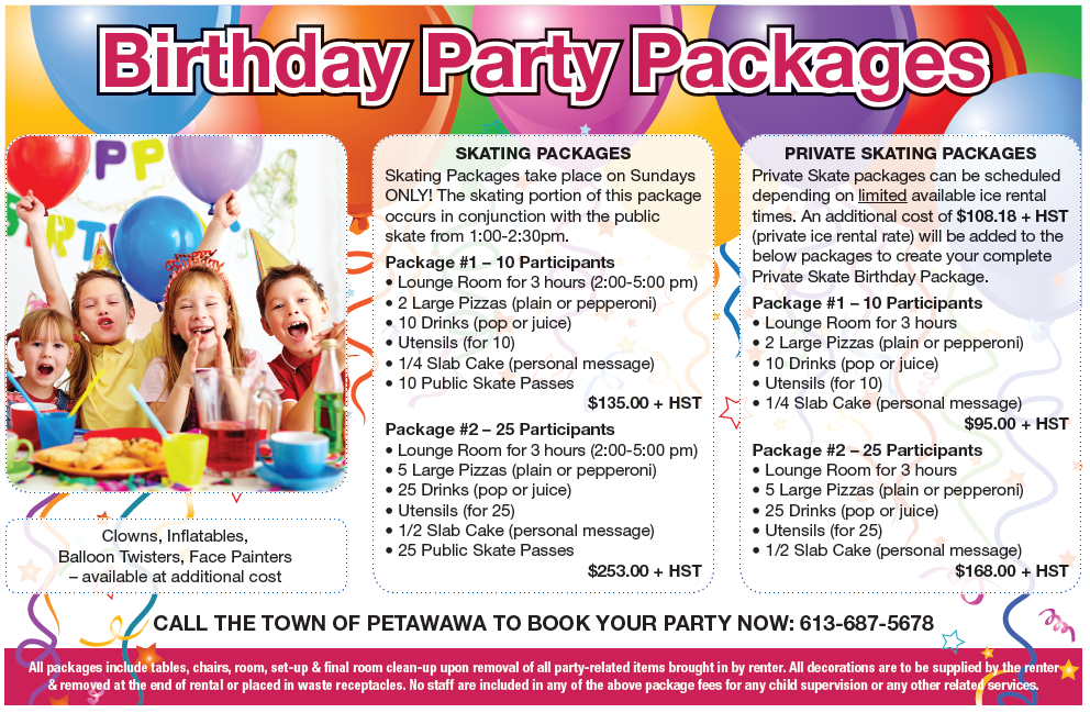 Image of birthday party package ad from Community Guide
