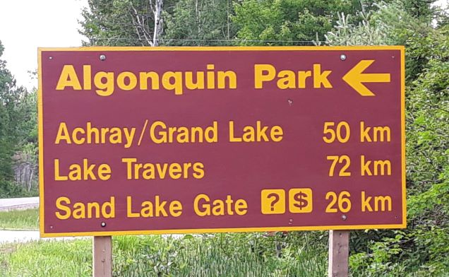 Image of the Algonquin Park highway sign