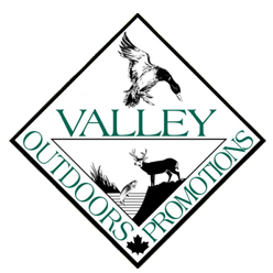 Valley Outdoor Promotions logo (words with duck, fish and moose images)