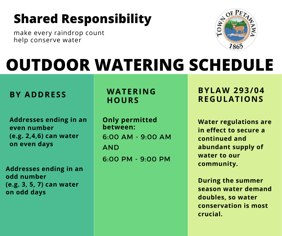 outdoor watering schedule, day and times, help conserve water