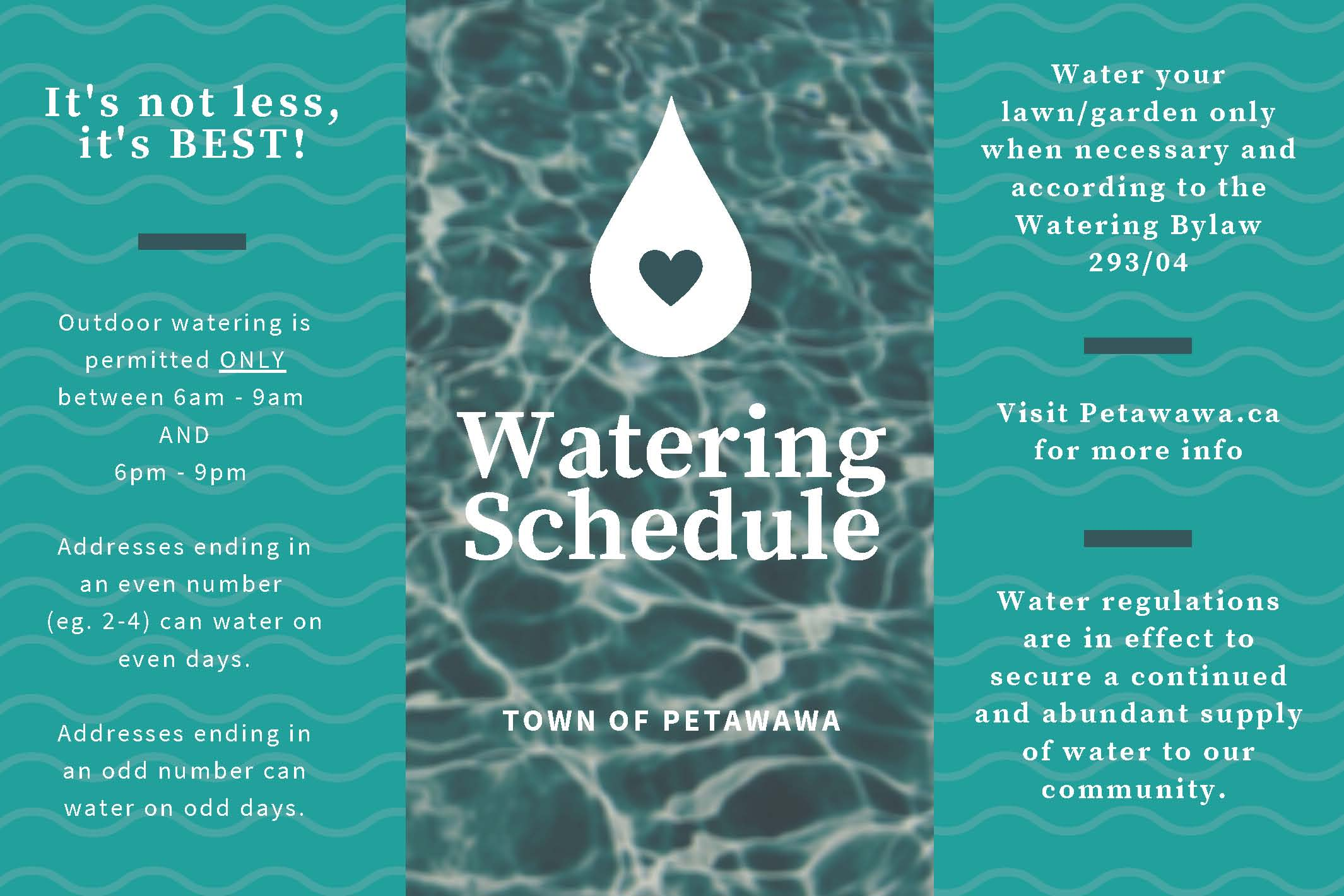 A water image with messaging about lawn watering