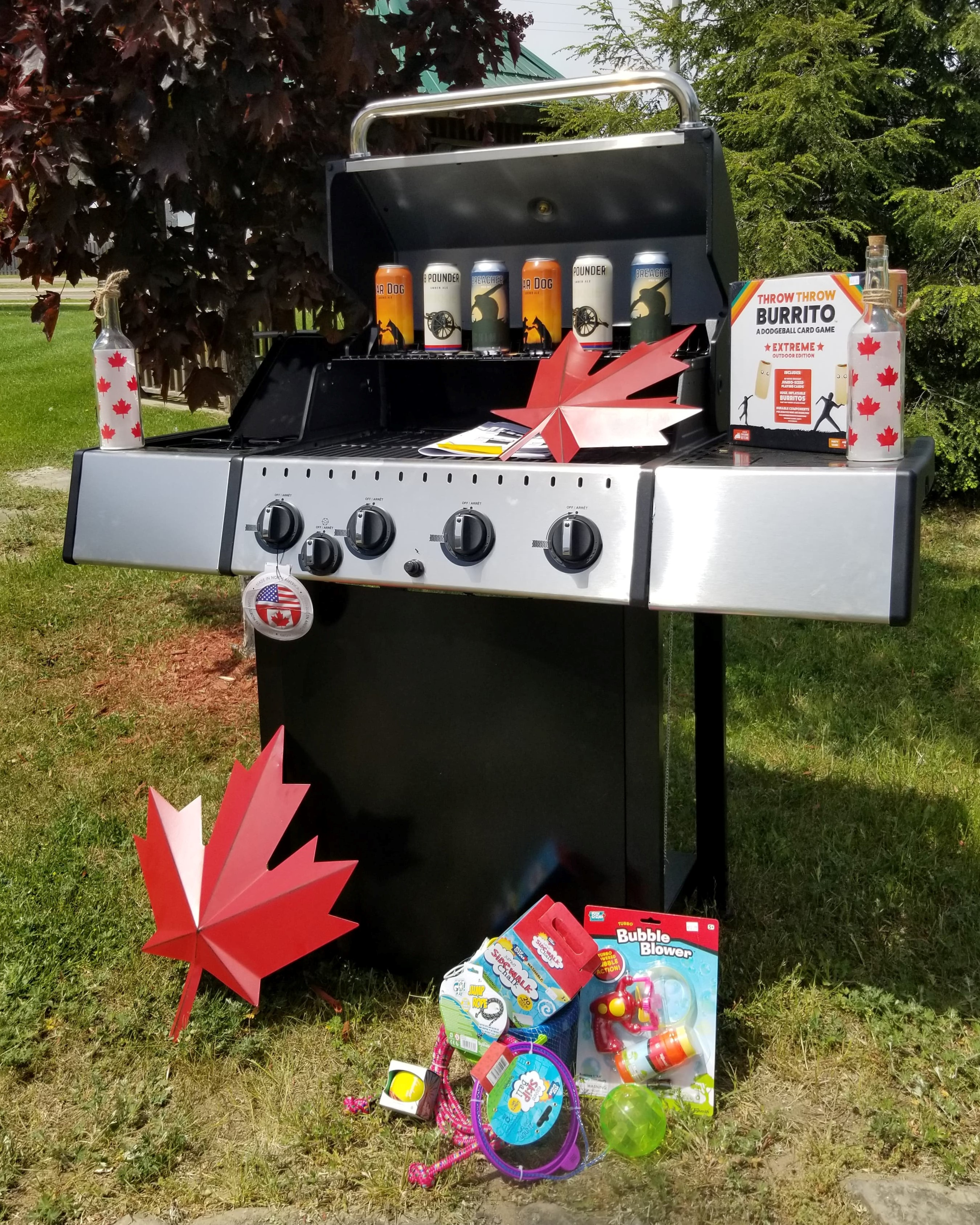 barbeque, beer, games, decor