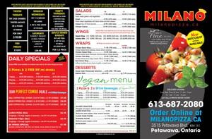 <b>Milano's Pizzeria Petawawa menu side 1</b>